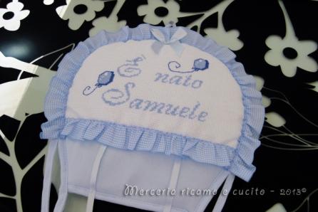 """Fiocco nascita mongolfiera celeste """"E' nato Samuele"""""""