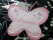 Fiocco nascita farfalla rosa per Lavinia