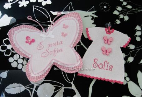 Fiocco nascita farfala rosa e maglietta auto per Sofia