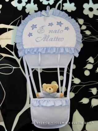 "Fiocco nascita mongolfiera celeste ""E' nato Matteo"""
