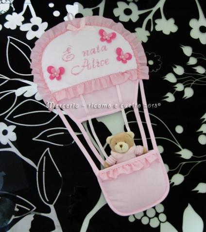 """Fiocco nascita mongolfiera rosa """"E' nata Alice"""""""