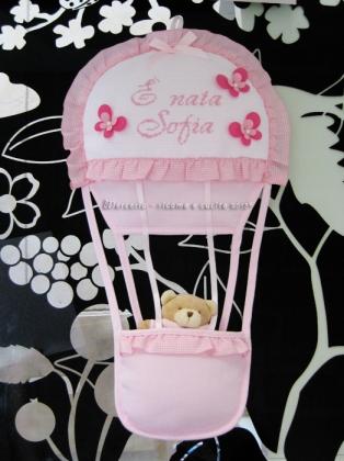 """Fiocco nascita mongolfiera rosa """"E' nata Sofia"""""""
