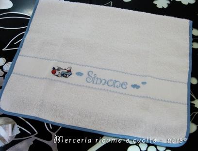 Coppia asciugamani in cotone nido d'ape e asciugamano asilo in spugna per Simone