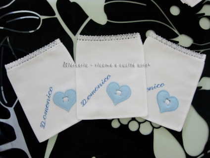 Sacchettini bomboniere portaconfetti bianchi con cuore per Domenico