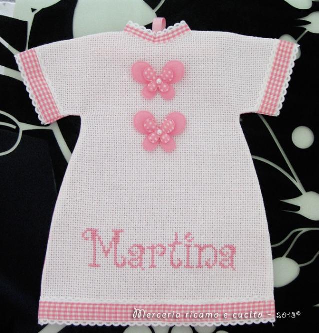 Sacchettini bomboniere, scacchetto nascita farfalla e maglietta auto per Martina