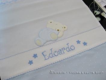 Sacchetto bicolore pallinato nascita e asilo per Edoardo