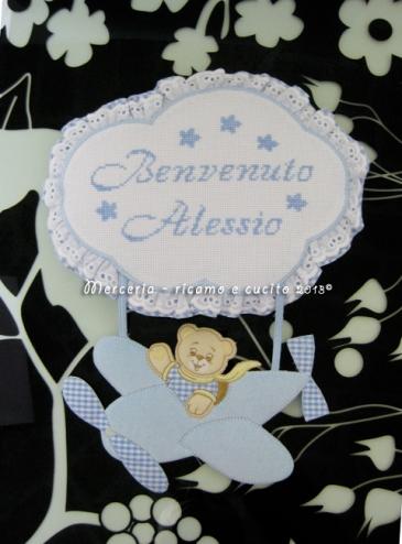 """Fiocco nascita aeroplano celeste """"Benvenuto Alessio"""""""