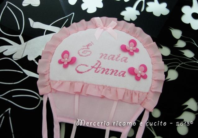 "Fiocco nascita mongolfiera rosa ""E' nata Anna"""