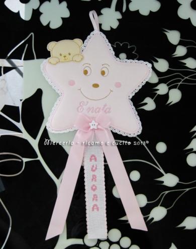 Fiocco nascita stellina rosa per Aurora
