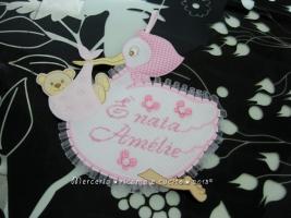 """Fiocco nascita cicogna rosa """"E' nata Amélie"""""""