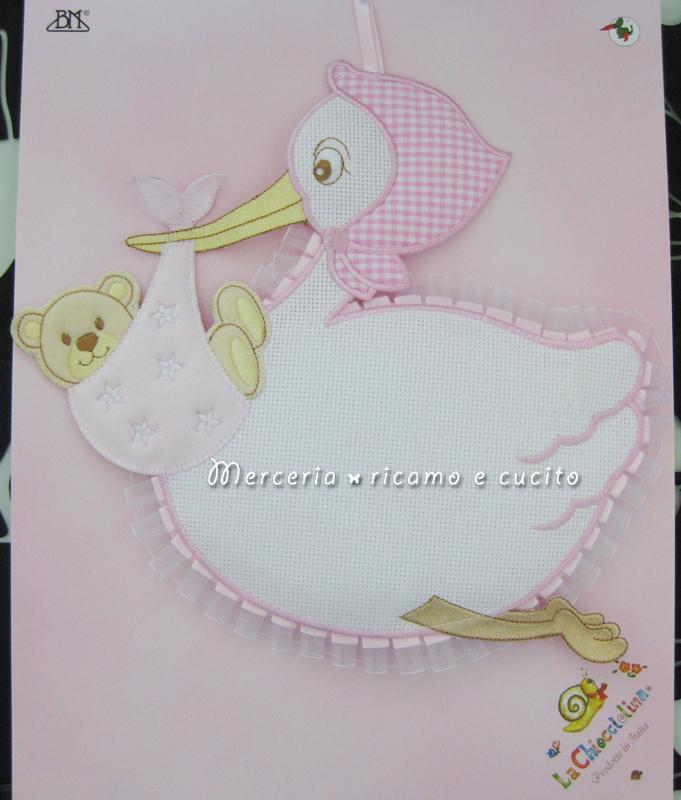 Fiocco nascita cicogna rosa per bambina