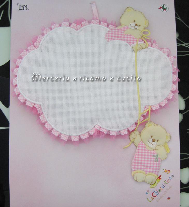 Fiocco nascita nuvola rosa per bambina