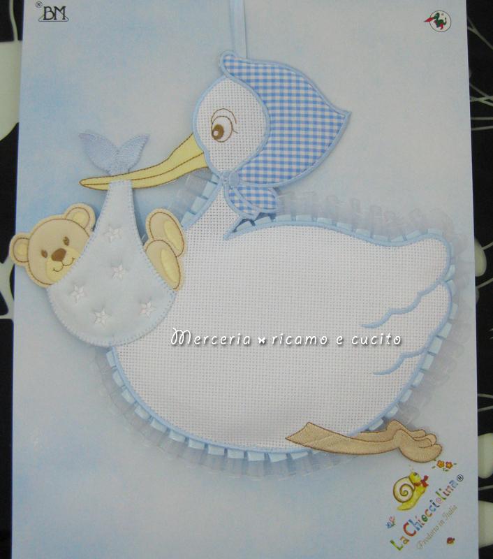 Fiocco nascita cicogna celeste per bambino