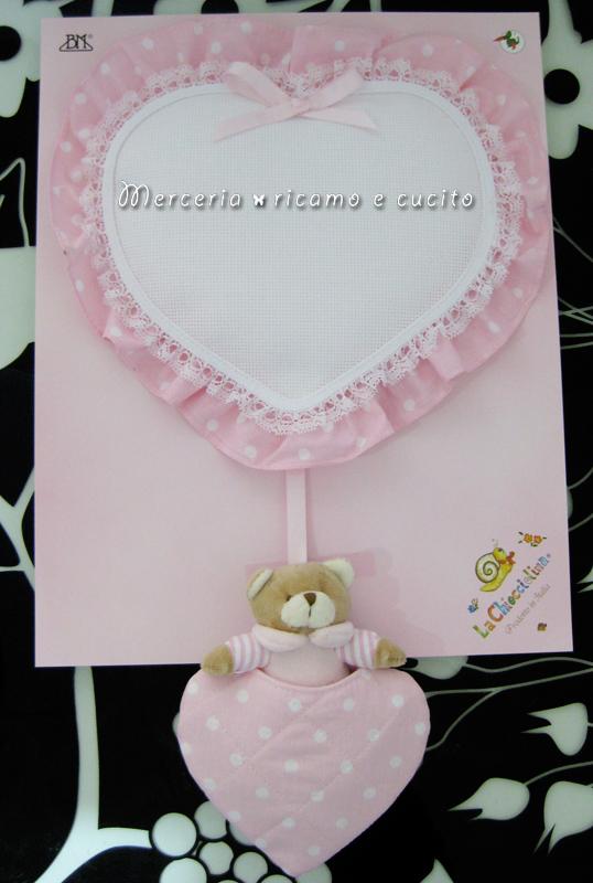Fiocco nascita cuore rosa con orsetto per bambina