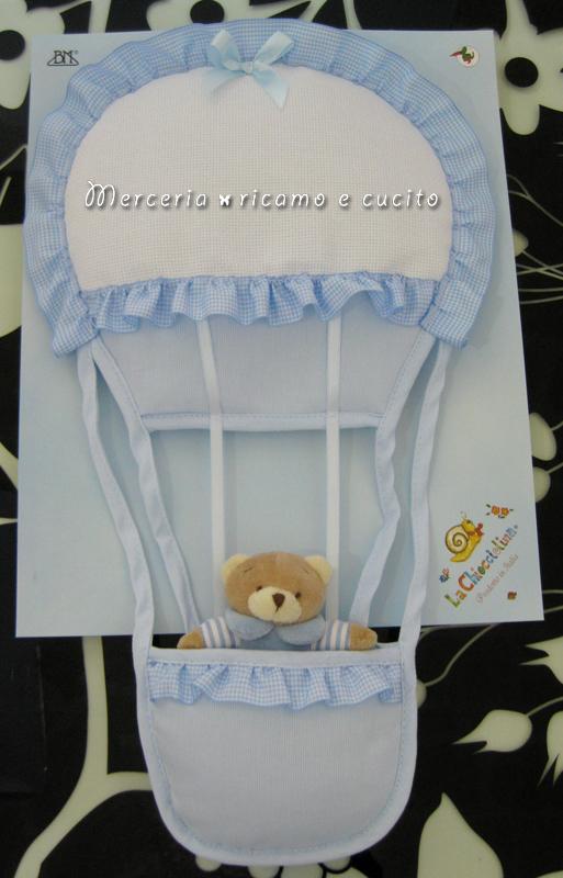 Fiocco nascita mongolfiera celeste per bambino