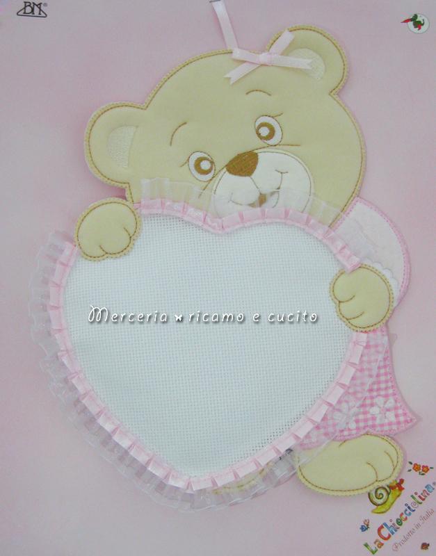 Fiocco nascita orsetto con cuore rosa per bambino