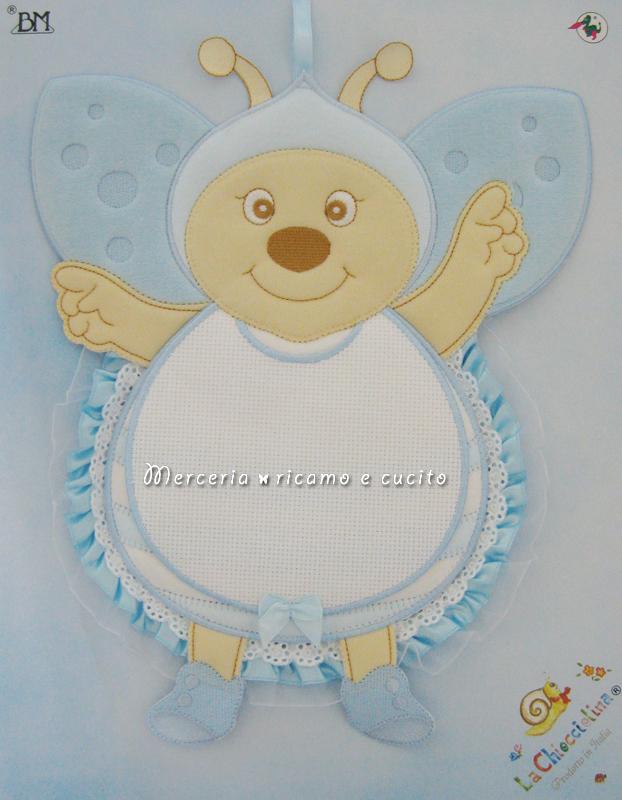 Fiocco nascita coccinella celeste per bambino