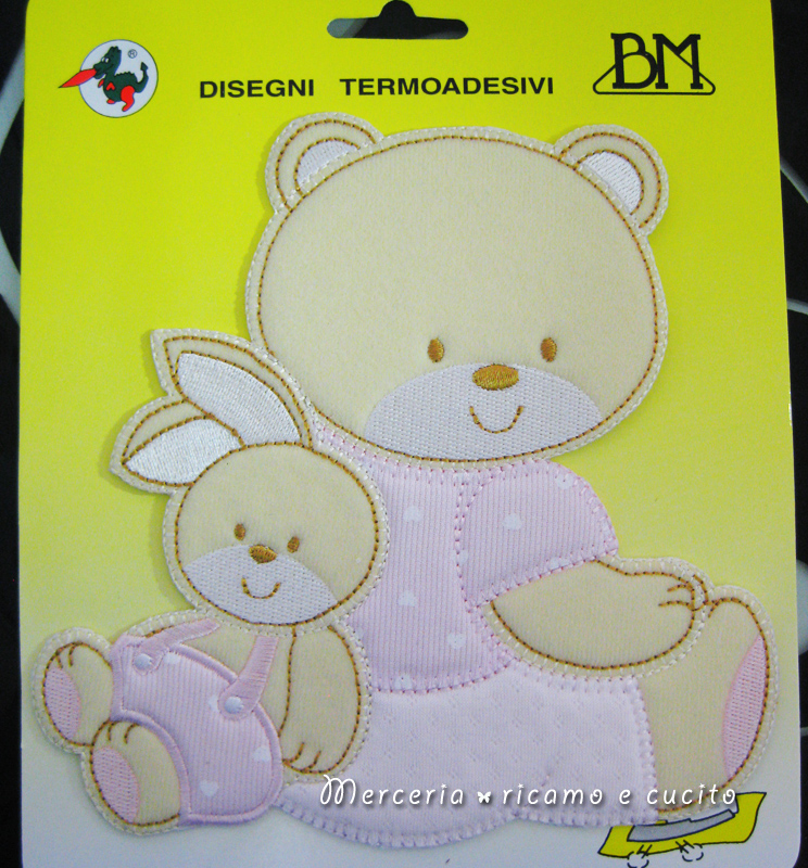 Applicazioni termoadesiva orsetto con coniglietto rosa
