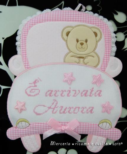 """Fiocco nascita macchina rosa """"E' arrivata Aurora"""""""