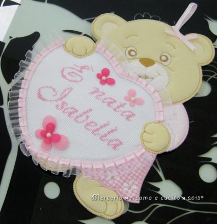 """Fiocco nascita orsetto con cuore rosa """"E' nata Isabella"""""""