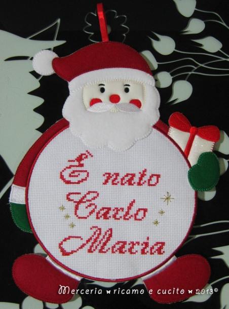 """Fiocco nascita Babbo Natale """"E' nato Carlo Maria"""""""