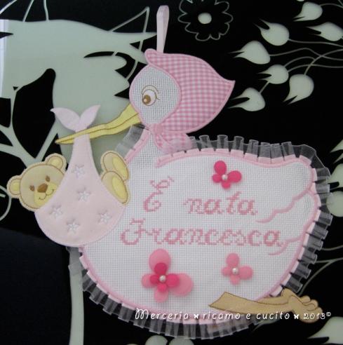 Sacchetto nascita farfalla e fiocco nascita cicogna rosa per Francesca