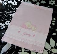 Sacchetto nascita elegante, busta portaoggetti e fiocco nascita mongolfiera rosa per Giusy