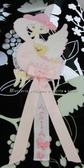 Fiocco nascita cicogna rosa E' nata per Asia