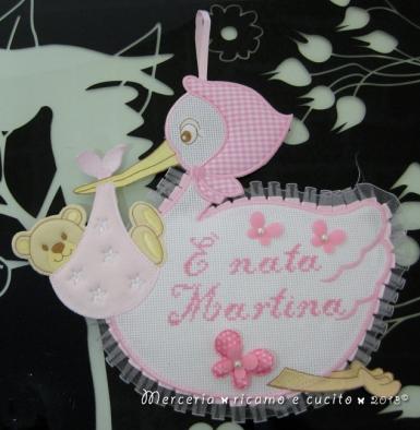 """Fiocco nascita cicogna rosa """"E' nata Martina"""""""
