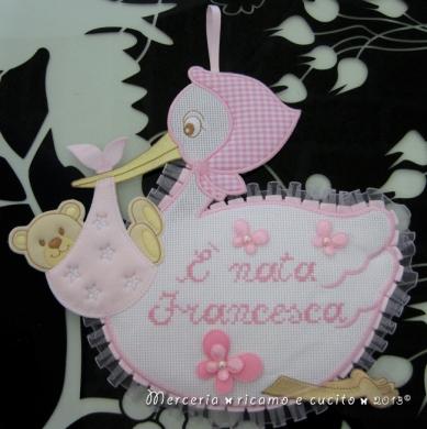 Fiocco nascita cicogna rosa per Francesca