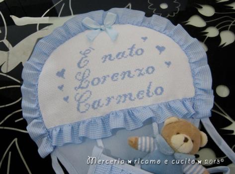 "Fiocco nascita mongolfiera celeste ""E' nato Lorenzo Carmelo"""