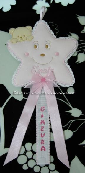 Fiocco nascita stellina rosa per Ginevra