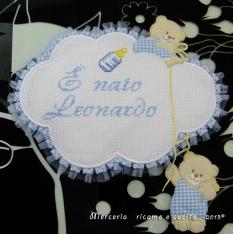 Fiocchi nascita nuvola e cuore celeste per Leonardo