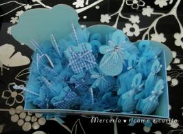 Sacchettino bomboniera portaconfetti a forma di ciuccio e tutina