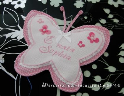 """Fiocco nascita farfalla rosa """"E' nata Sophia"""""""