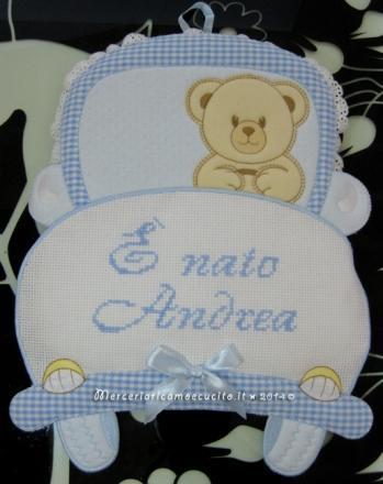 """Fiocco nascita macchina celeste """"E' nato Andrea"""""""