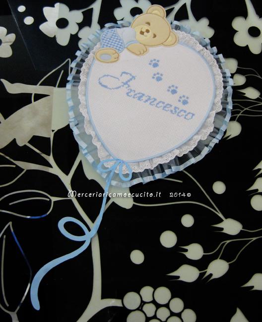Fiocco nascita palloncino celeste per Francesco