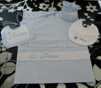 Sacchetto nascita celeste pois porta ciuccio e bavette personalizzate per Pietro