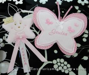 Fiocchi nascita farfalla e stellina rosa per Giulia