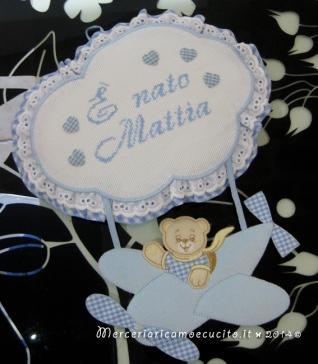 """Fiocco nascita aeroplano celeste """"E' nato Mattia"""""""