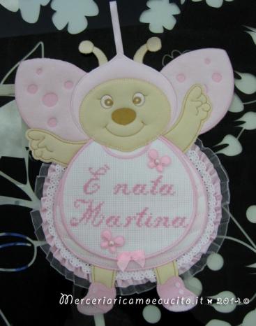 """Fiocco nascita coccinella rosa """"E' nata Martina"""""""