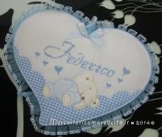 Fiocco nascita cuore celeste con orsetto per Federico