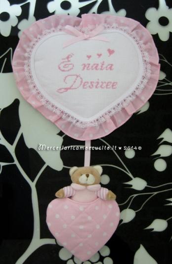 """Fiocco nascita cuore rosa pois con orsetto """"E' nata Desiree"""""""