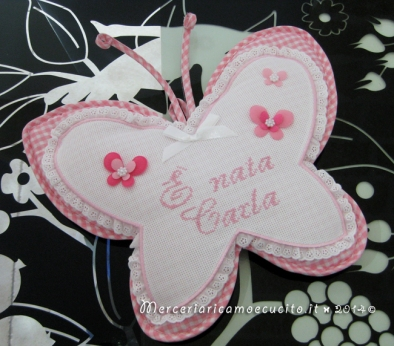 """Fiocco nascita farfalla rosa """"E' nata Carla"""""""