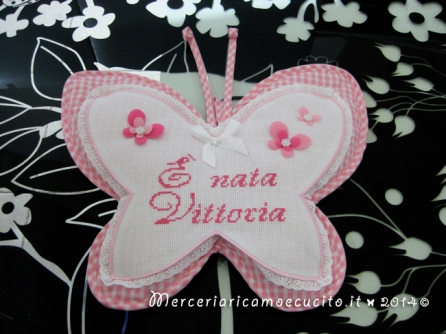 """Fiocco nascita farfalla rosa """"E' nata Vittoria"""""""