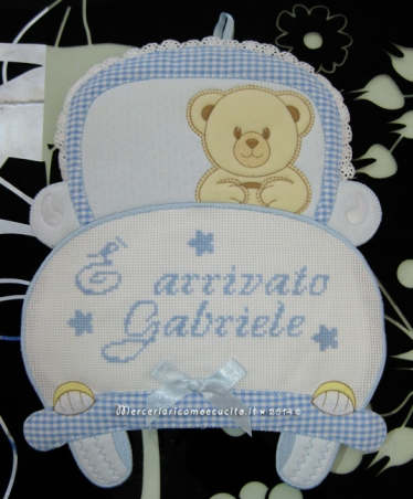 "Fiocco nascita macchina celeste ""E' arrivato Gabriele"""