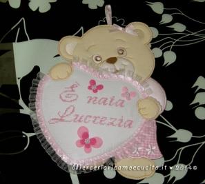 Sacchetto nascita elegante e fiocco nascita orsetto con cuore rosa per Lucrezia