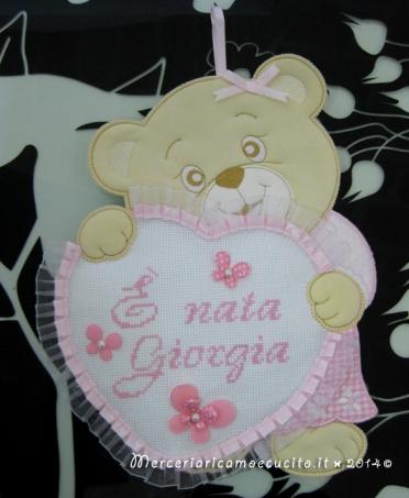 """Fiocco nascita orsetto con cuore rosa """"E' nata Giorgia"""""""