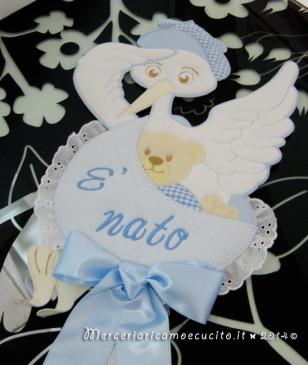 Fiocchi nascita aeroplano e fiocco nascita cicogna celeste per Mattia