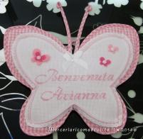 Fiocchi nascita farfalla e coccinella rosa per Arianna